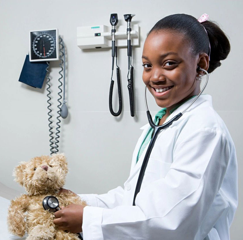 girl learning medical skills